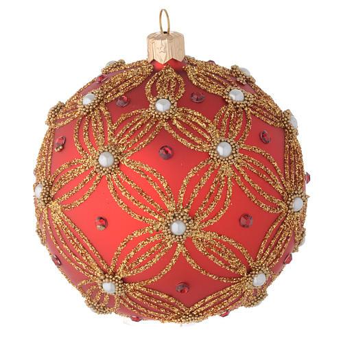 Bola de Navidad de vidrio soplado rojo con perlas y decoraciones oro 100 mm 4