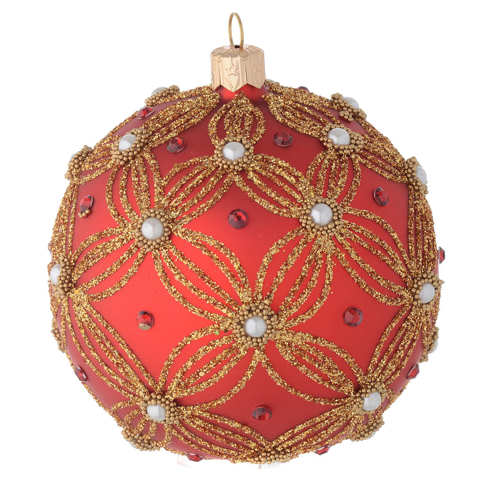 Pallina vetro soffiato rosso perle e oro 100 mm 4