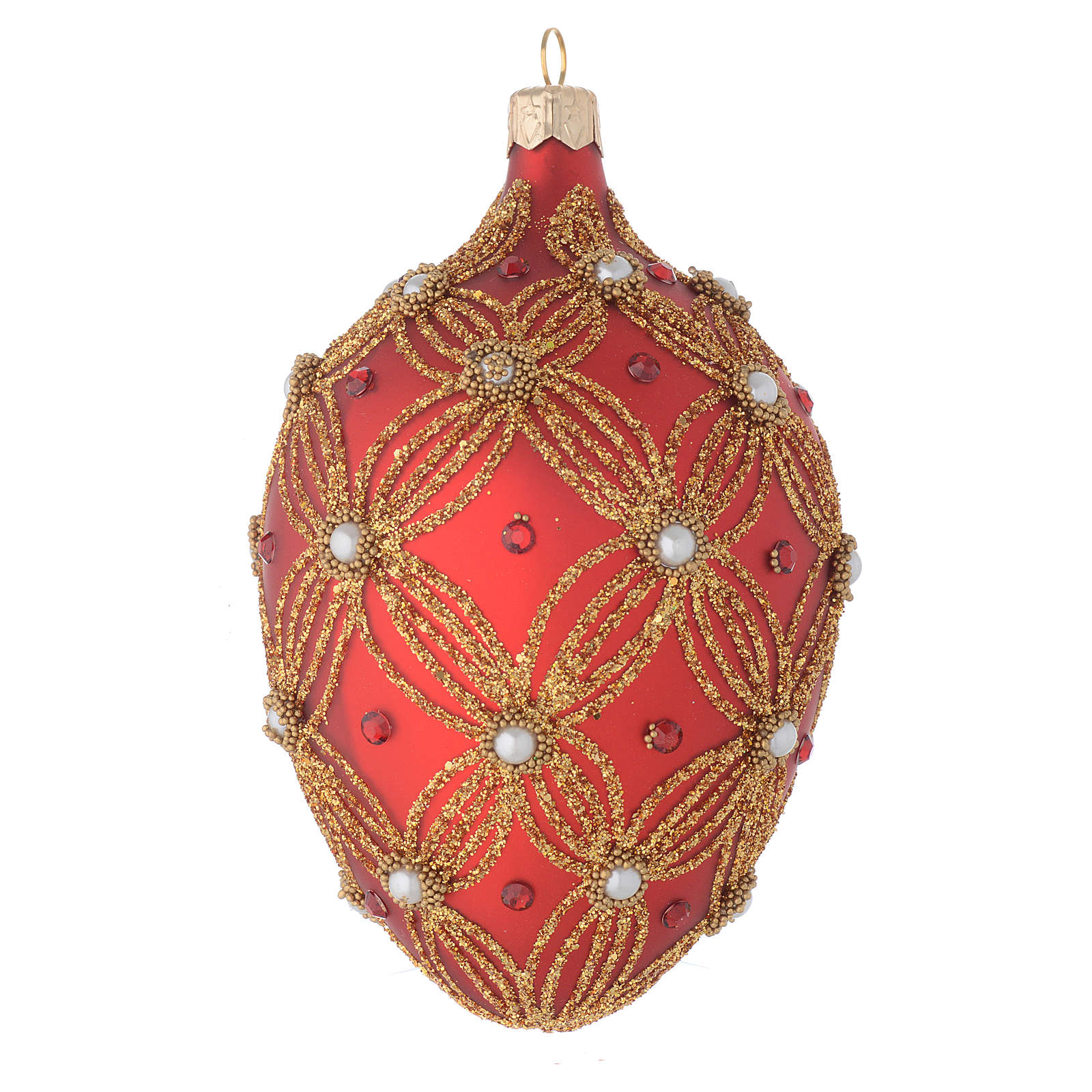 Oval bauble in red and gold blown glass with pearls 130mm 4
