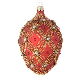 Oval bauble in red and gold blown glass with pearls 130mm s1