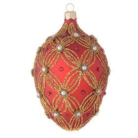 Palla uovo vetro rosso perle e decori oro 130 mm s1
