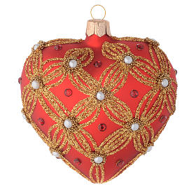 Heart Shaped bauble in red and gold blown glass with pearls 100mm s1