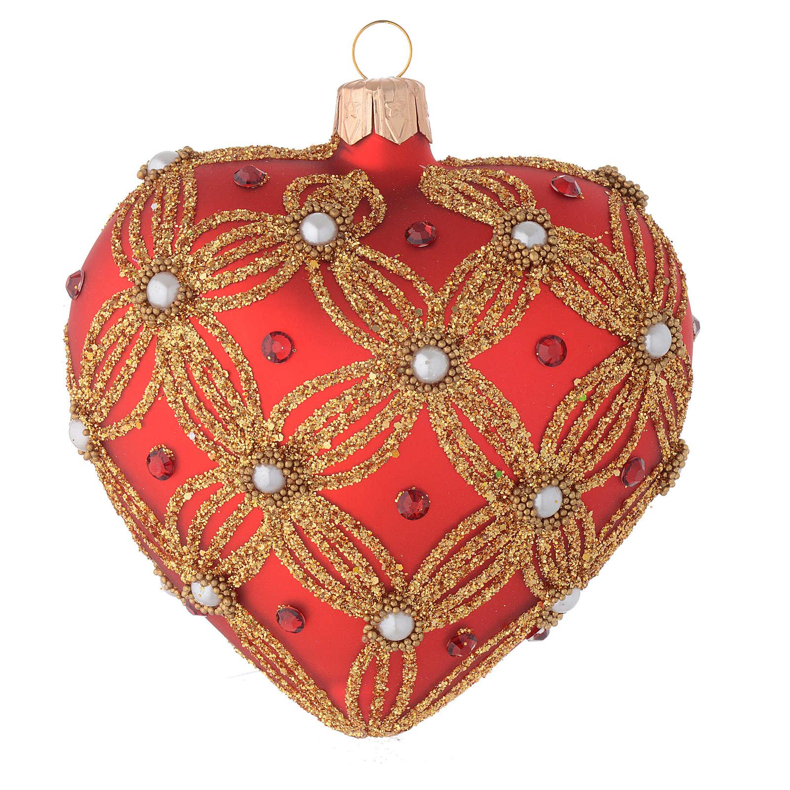 Bola de Navidad corazón de vidrio soplado rojo con perlas y decoraciones oro 100 mm 4