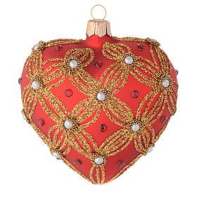 Bola de Navidad corazón de vidrio soplado rojo con perlas y decoraciones oro 100 mm s1