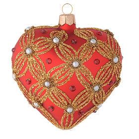 Bola de Navidad corazón de vidrio soplado rojo con perlas y decoraciones oro 100 mm s2