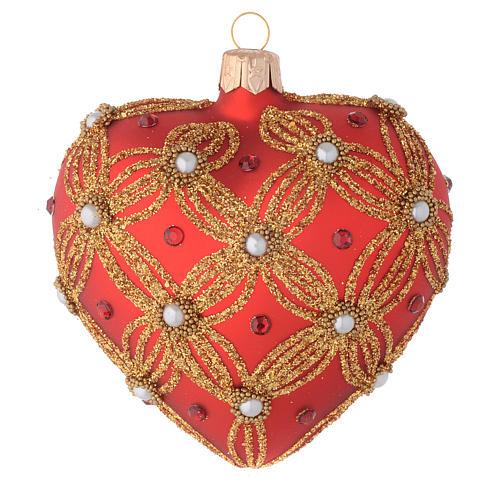 Bola de Navidad corazón de vidrio soplado rojo con perlas y decoraciones oro 100 mm 1