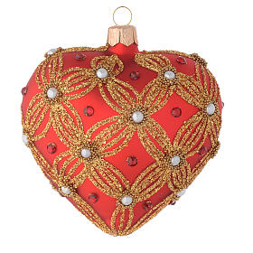 Coeur sapin Noël verre rouge perles et décor or 100 mm s2