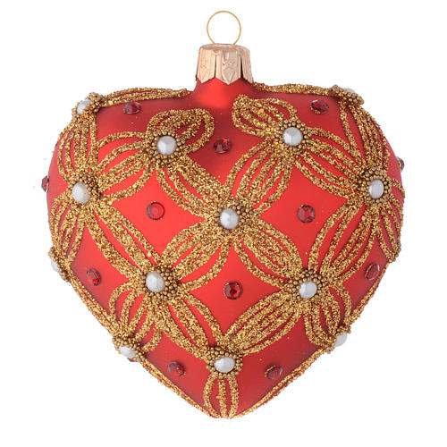 Cuore Albero Natale vetro rosso perle e decori oro 1