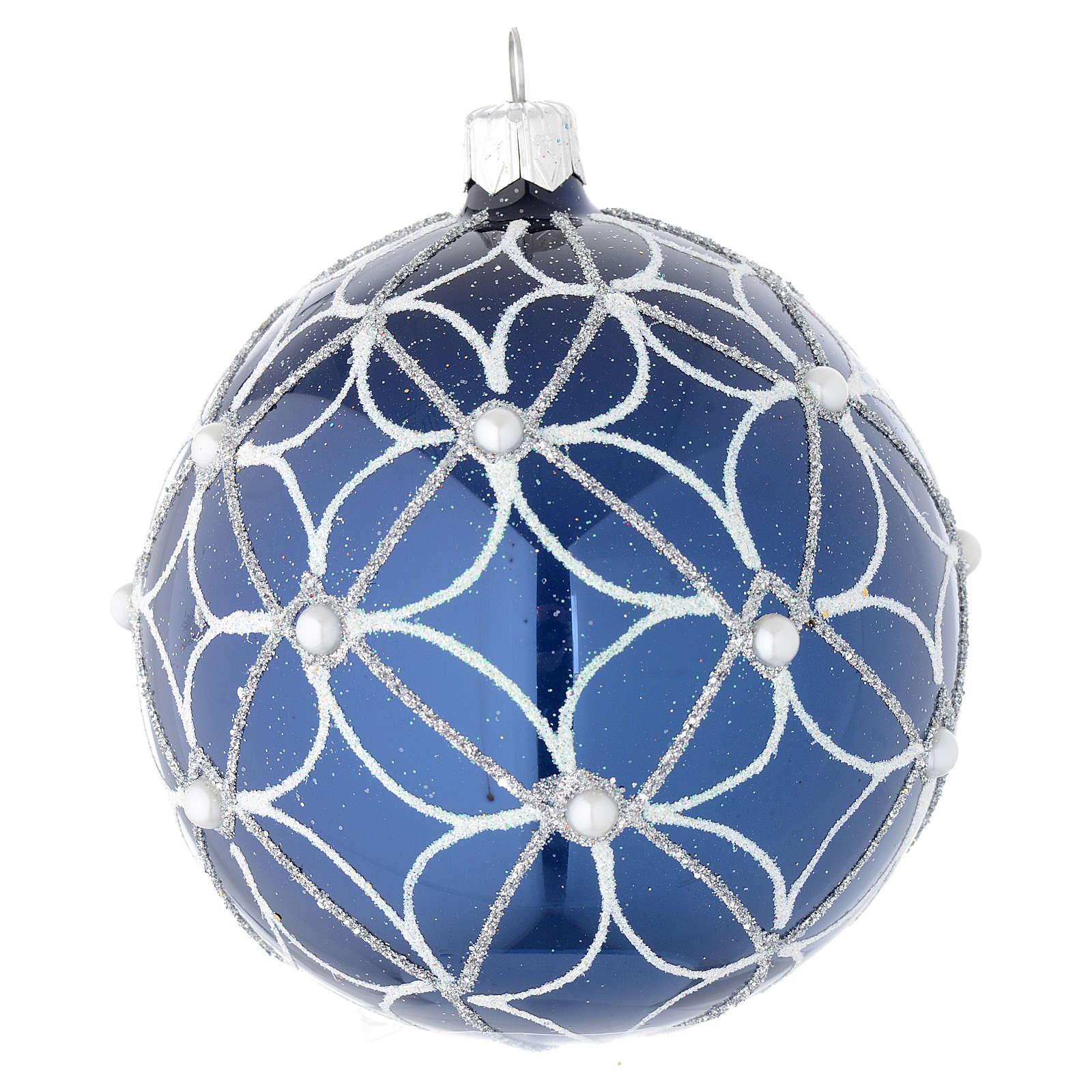 Bola de Navidad de vidrio soplado azul y blanco 100 mm 4