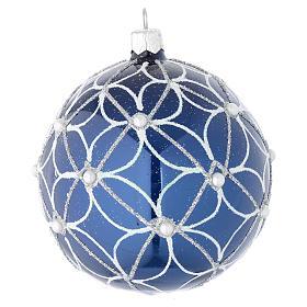Bola de Navidad de vidrio soplado azul y blanco 100 mm s1