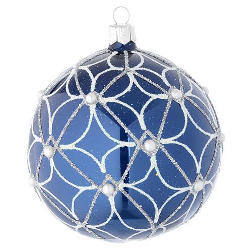 Bola de Navidad de vidrio soplado azul y blanco 100 mm 2