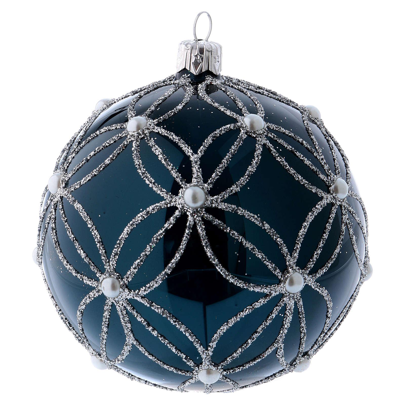 Pallina vetro soffiato blu e bianco 100 mm 4
