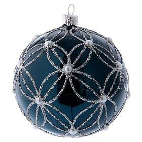 Pallina vetro soffiato blu e bianco 100 mm s2