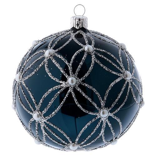 Pallina vetro soffiato blu e bianco 100 mm 1