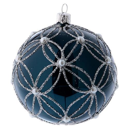 Pallina vetro soffiato blu e bianco 100 mm 2
