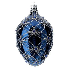 Weihnachtskugel aus mundgeblasenem Glas in Ei-Form, Grundton Blau, 130 mm s2