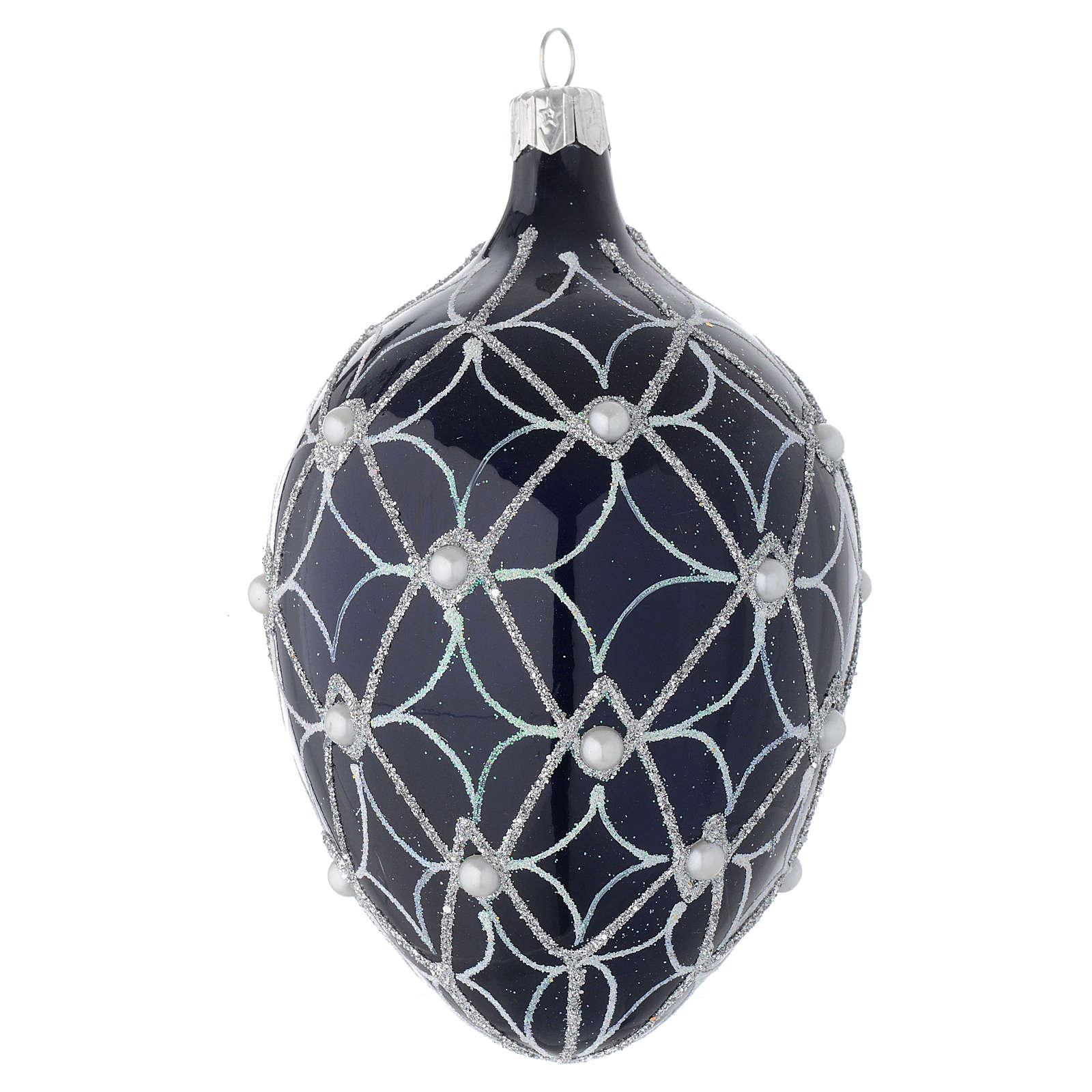 Palla uovo vetro soffiato blu e bianco 130 mm 4