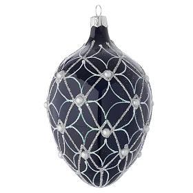 Palla uovo vetro soffiato blu e bianco 130 mm s2
