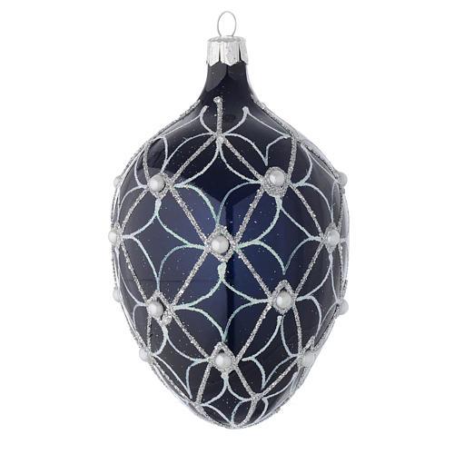 Palla uovo vetro soffiato blu e bianco 130 mm 1