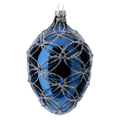 Oval bauble in blue blown glass with pearls and silver decorations 100mm 1