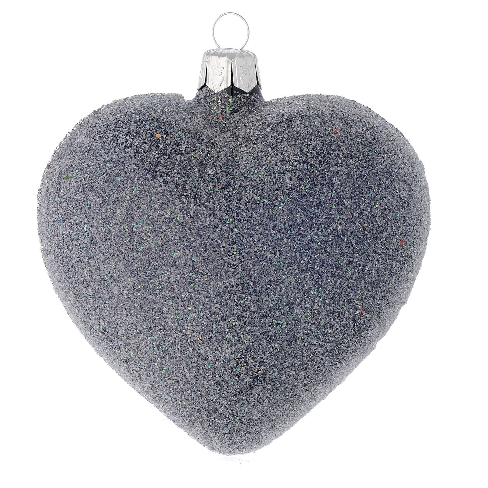 Heart Shaped bauble in blue blown glass with pearls and silver decorations 100mm 4