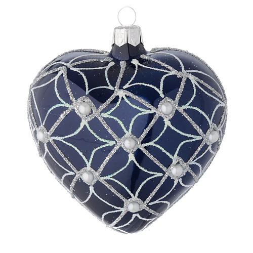 Heart Shaped bauble in blue blown glass with pearls and silver decorations 100mm 1