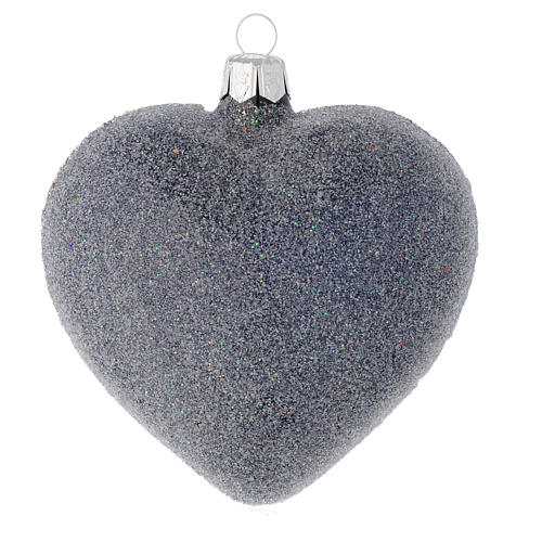 Heart Shaped bauble in blue blown glass with pearls and silver decorations 100mm 2