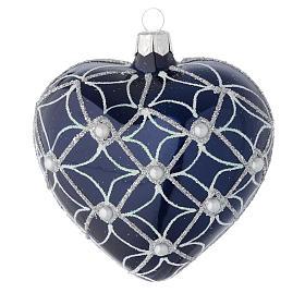 Cuore Albero Natale vetro blu e bianco 100 mm s1