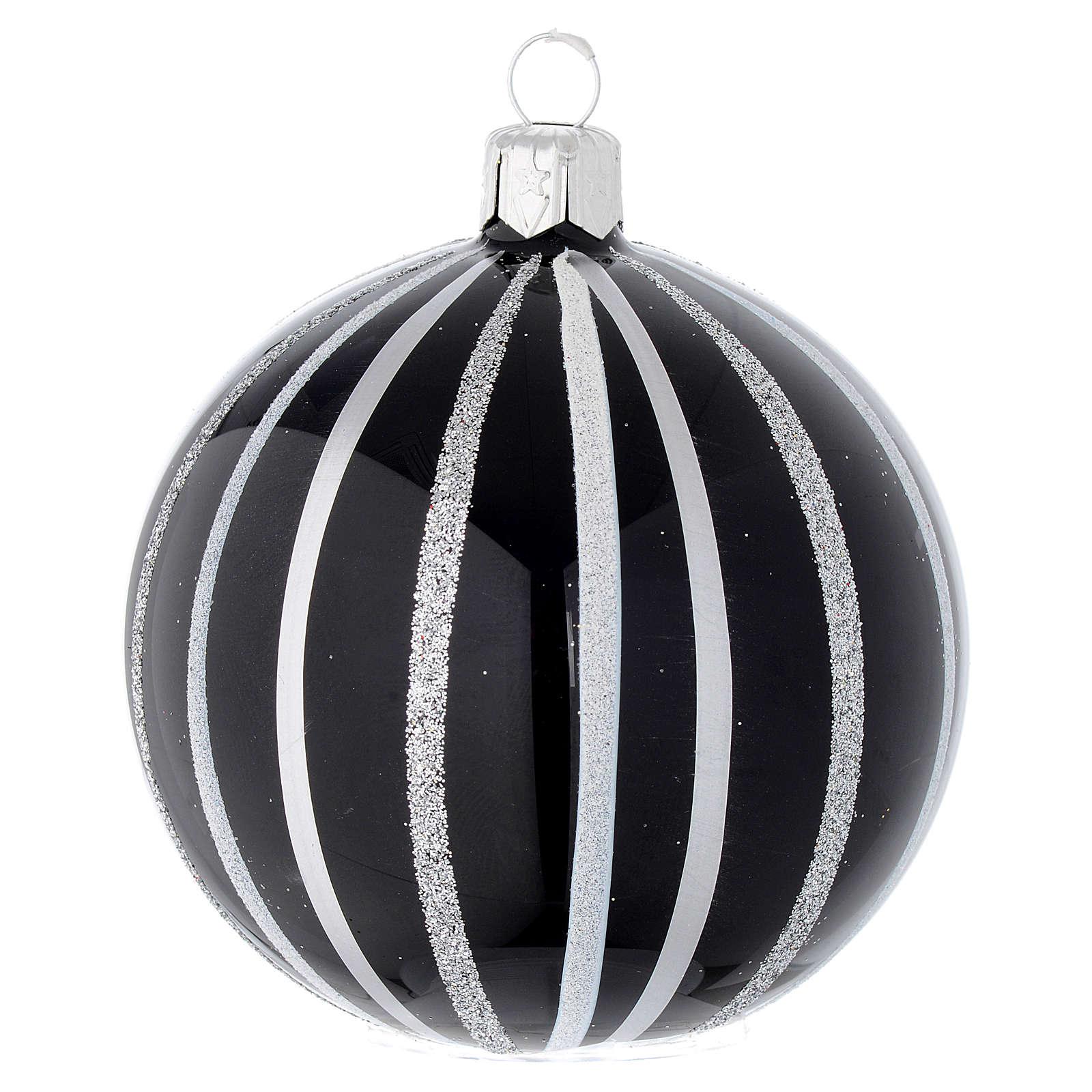 Bola de Navidad de vidrio soplado negro con rayas plata 80 mm 4