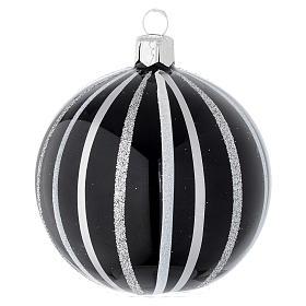Bola de Navidad de vidrio soplado negro con rayas plata 80 mm s1