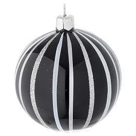 Bola de Navidad de vidrio soplado negro con rayas plata 80 mm s2