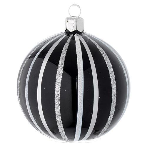 Bola de Navidad de vidrio soplado negro con rayas plata 80 mm 1