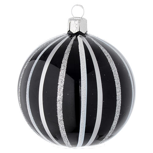 Pallina Natale vetro nero righe argento 80 mm 1