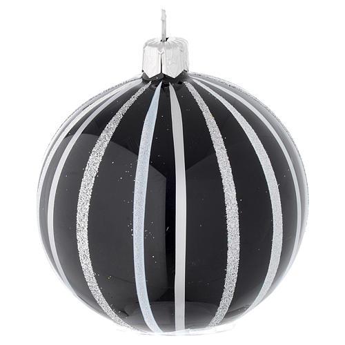 Pallina Natale vetro nero righe argento 80 mm 2