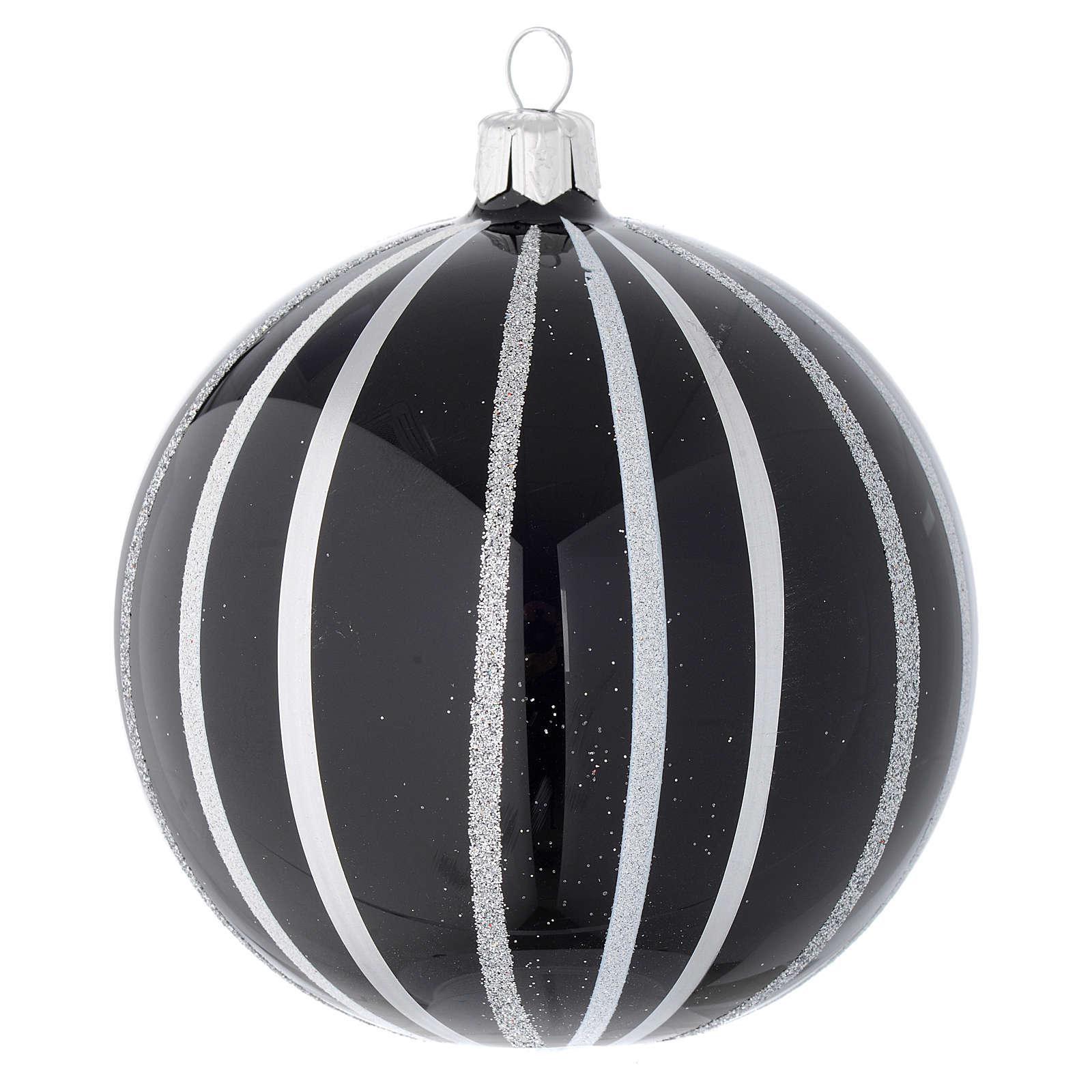 Bola De Navidad de vidrio negro con rayas plata 100 mm 4