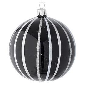 Bola De Navidad de vidrio negro con rayas plata 100 mm s1
