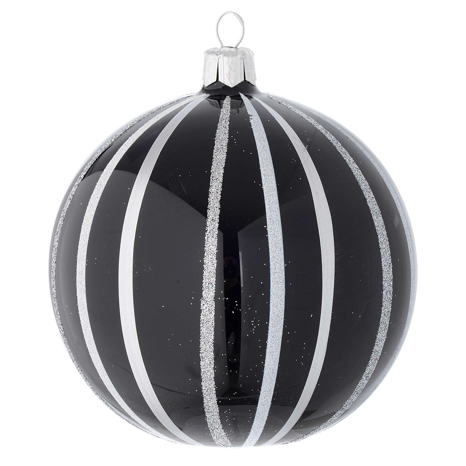 Bauble in black blown glass with silver stripes 100mm 4
