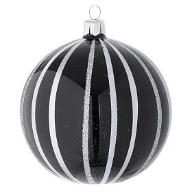 Bauble in black blown glass with silver stripes 100mm s1