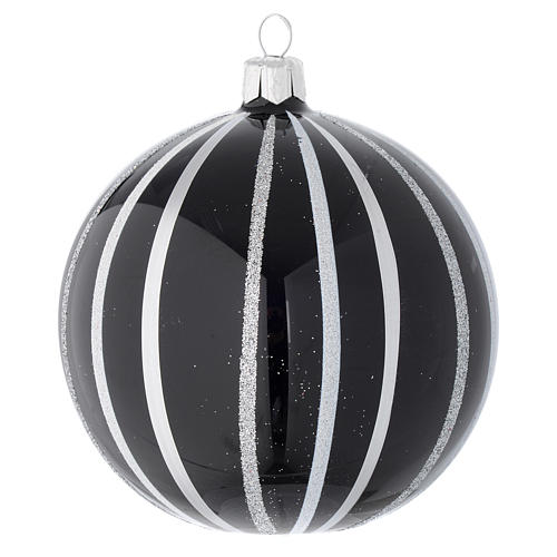 Bauble in black blown glass with silver stripes 100mm 1