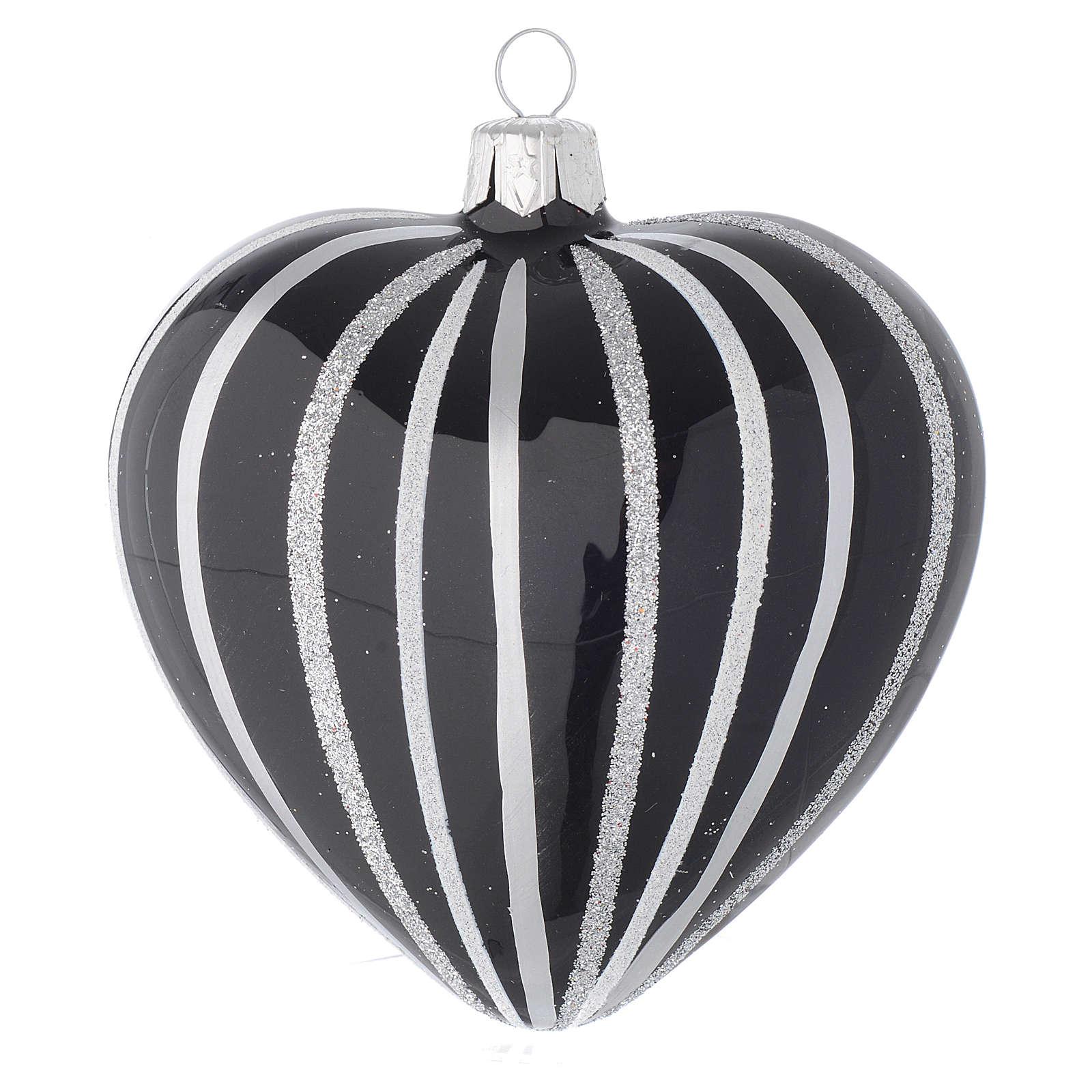 Bola de Navidad corazón de vidrio soplado negro con rayas plata 100 mm 4