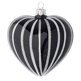Bola de Navidad corazón de vidrio soplado negro con rayas plata 100 mm s1