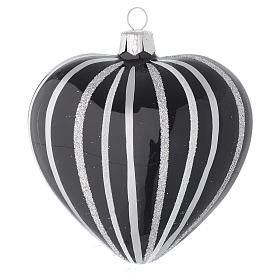 Bola de Navidad corazón de vidrio soplado negro con rayas plata 100 mm s2