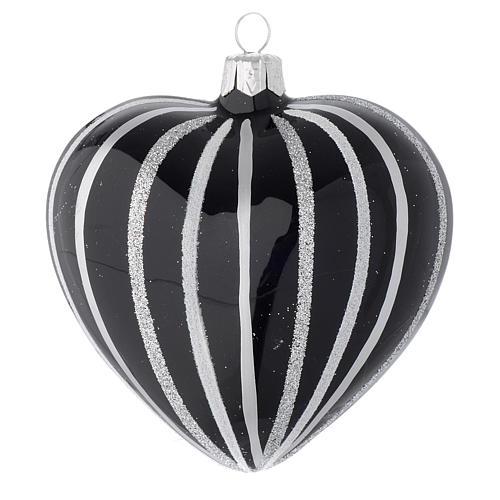 Bola de Navidad corazón de vidrio soplado negro con rayas plata 100 mm 1