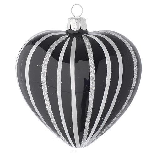 Bola de Navidad corazón de vidrio soplado negro con rayas plata 100 mm 2