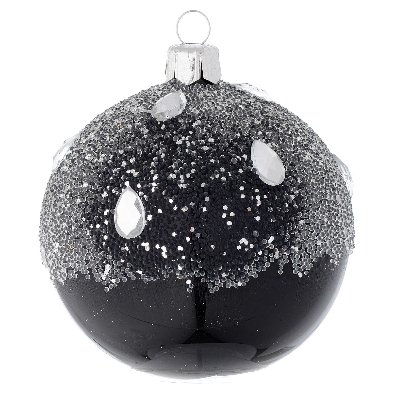 Bauble in black blown glass with glitter 80mm 4