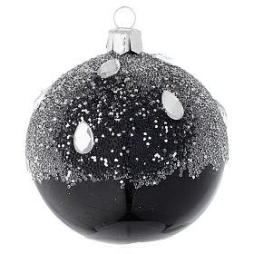 Christmas balls: Bauble in black blown glass with glitter 80mm