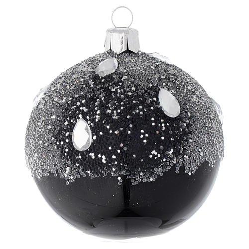 Bauble in black blown glass with glitter 80mm 1