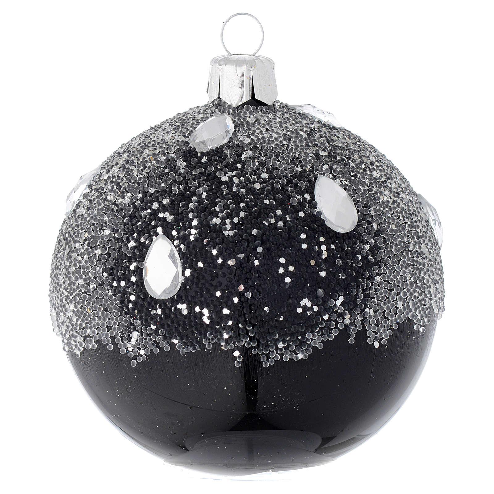 Bola de Navidad de vidrio negro y glitters 80 mm 4