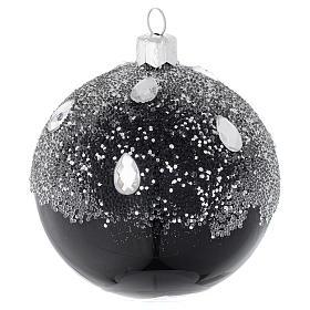 Pallina in vetro nero e glitter 80 mm s2