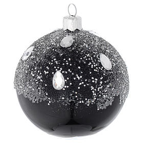 Bauble in black blown glass with glitter 80mm s2